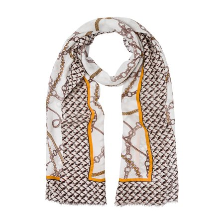 Olsen Chain Printed Scarf Off White  - Click to view a larger image