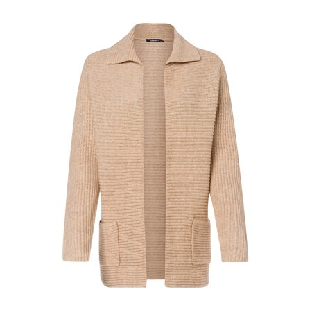 Olsen Open Cardigan With Collar Beige  - Click to view a larger image