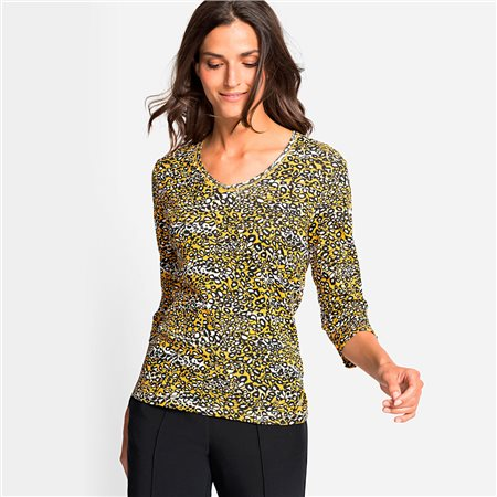 Olsen V Neck Printed Top Honey  - Click to view a larger image