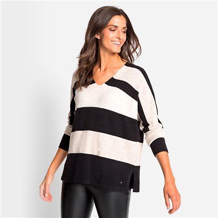 Olsen V Neck Jumper With Stripes Black  - Click to view a larger image