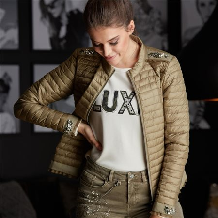 Monari Light Quilted Jacket With Applications Khaki  - Click to view a larger image