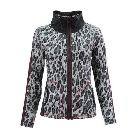 Lebek Animal Print Zip Jacket Grey  - Click to view a larger image