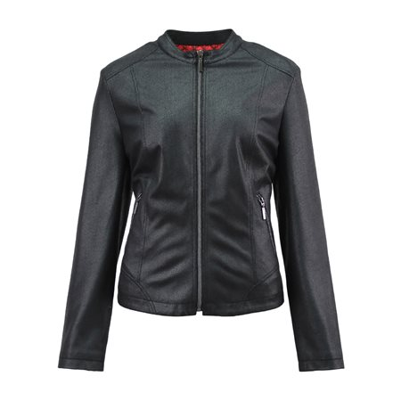 Lebek Suede Look Jacket Black  - Click to view a larger image