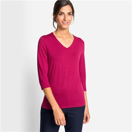 Olsen V Neck Top With 3/4 Sleeves Raspberry  - Click to view a larger image