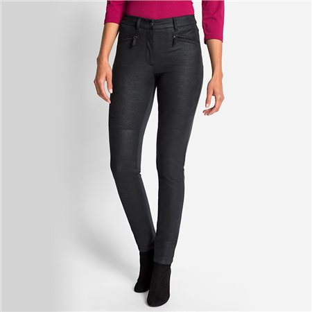 Olsen Imitation Leather Pia Trouser Charcoal  - Click to view a larger image