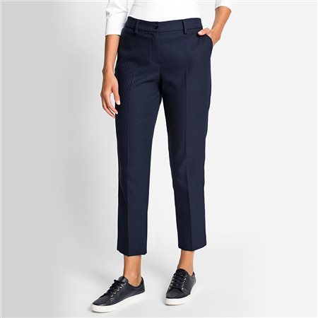 Olsen Structured Diamond Pattern Trouser Navy  - Click to view a larger image