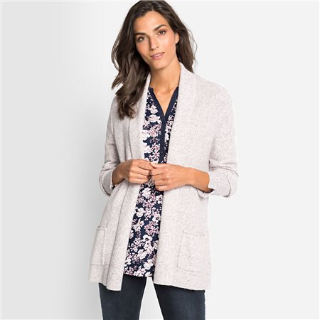 Olsen Cardigan With Shawl Collar Beige  - Click to view a larger image