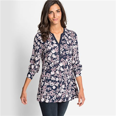 Olsen Long Sleeve Blouse With Floral Print Navy  - Click to view a larger image