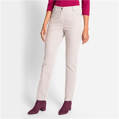 Olsen Mona Slim Cord Trouser Beige  - Click to view a larger image