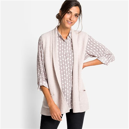 Olsen Knitted Vest With Shawl Collar Beige  - Click to view a larger image