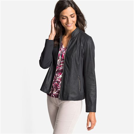 Olsen Imitation Leather Jacket With Stand-Up Collar Charcoal  - Click to view a larger image
