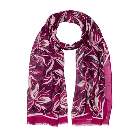 Olsen Floral Print Scarf Raspberry  - Click to view a larger image
