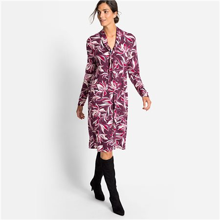 Olsen Printed Dress With Tie Collar Detail Raspberry  - Click to view a larger image