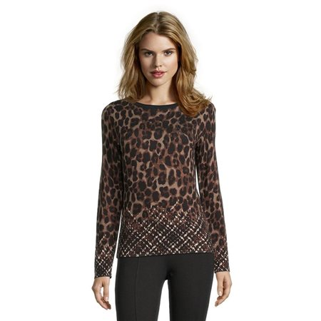Betty Barclay Fine Knit Jumper With Animal And Check Detail Black  - Click to view a larger image