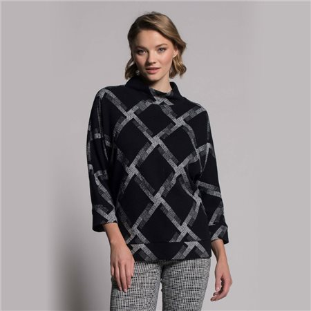 Picadilly Check Jumper With High Neck Black  - Click to view a larger image