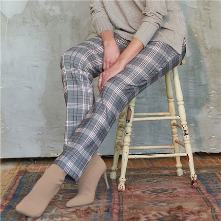 Picadilly Checked Pull On Trousers Taupe  - Click to view a larger image
