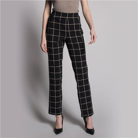 Picadilly Large Check Pull On Trousers Black  - Click to view a larger image
