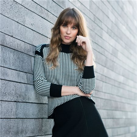 Marble Fine Check Jumper Black  - Click to view a larger image