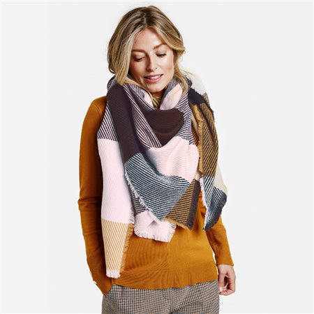 Gerry Weber Checkered Scarf Brown  - Click to view a larger image