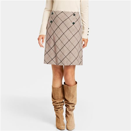 Gerry Weber Skirt With A Diagonal Check Taupe  - Click to view a larger image
