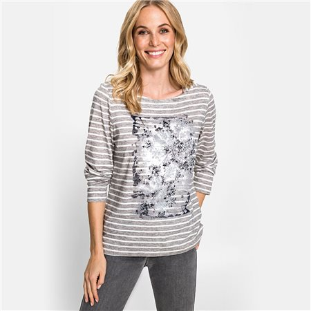 Olsen Round Neck Top With Placement Print Grey  - Click to view a larger image