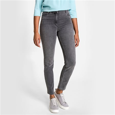 Olsen Mona Slim Jeans With Back Pockets Decoration Grey  - Click to view a larger image