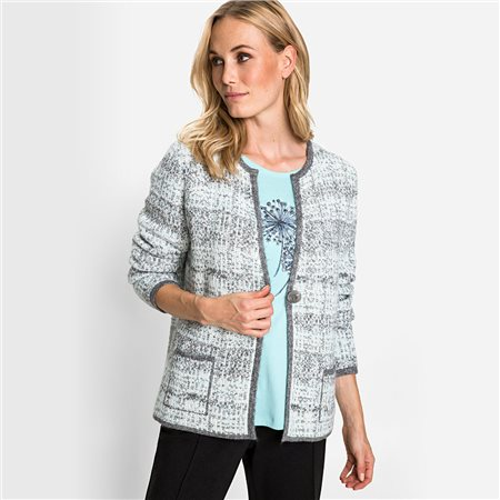 Olsen One-Button Closure Jacquard  Cardigan Grey  - Click to view a larger image