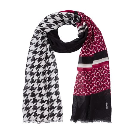 Olsen Houndstooth Print Scarf Black  - Click to view a larger image
