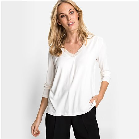 Olsen V Neck Top With Sequin Neckline Off White  - Click to view a larger image