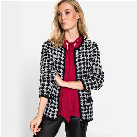 Olsen Houndstooth Print Cardigan Black  - Click to view a larger image