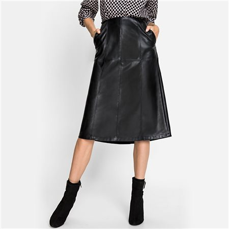 Olsen Leather Look Skirt Black  - Click to view a larger image
