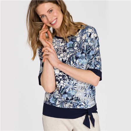 Olsen Roundneck Top With A Decorative Hem Tie Blue  - Click to view a larger image