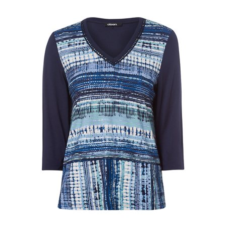 Olsen V Neck 3/4 Sleeve Top With Print Blue  - Click to view a larger image