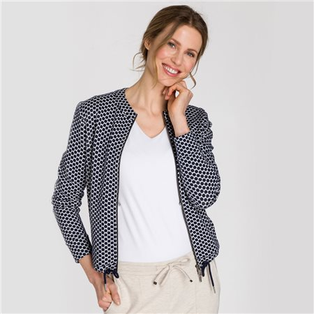 Olsen Spot Zipped Jacket With Drawstring Hem Blue  - Click to view a larger image