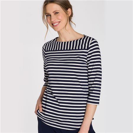 Olsen Round Neck Top With Stripes Blue  - Click to view a larger image
