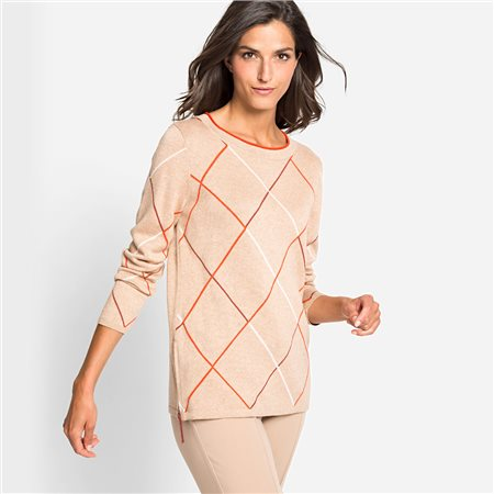 Olsen Round Neck Sweater With Large Checks Beige  - Click to view a larger image