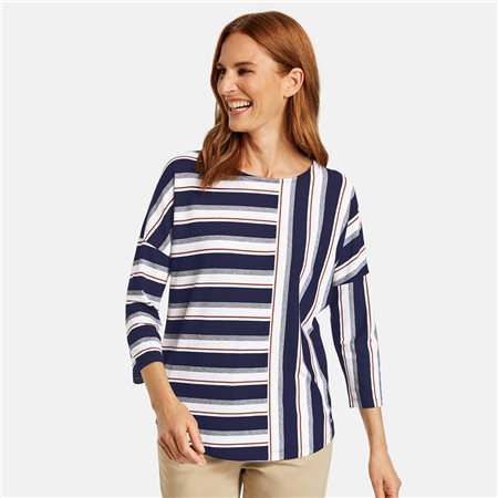 Gerry Weber 3/4 Sleeve Top With Stripe Patches Navy  - Click to view a larger image