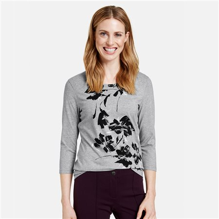 Gerry Weber Organic Cotton Floral Print Top Grey  - Click to view a larger image
