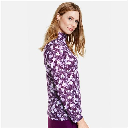 Gerry Weber Long Sleeved Top With Floral Burnout Look Lilac  - Click to view a larger image