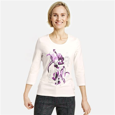 Gerry Weber 3/4 Sleeve Top With Printed Front Lilac  - Click to view a larger image