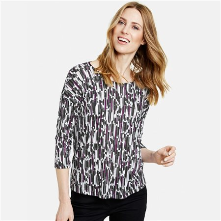 Gerry Weber 3/4 Sleeve Top With Graphic Pattern Lilac  - Click to view a larger image