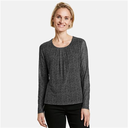 Gerry Weber Long Sleeve Mesh Top Black  - Click to view a larger image