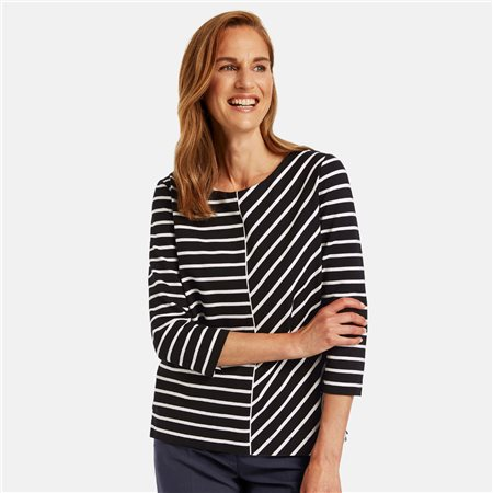 Gerry Weber Cotton 3/4 Sleeve Top Black  - Click to view a larger image