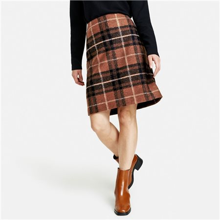 Gerry Weber Large Glencheck Check Skirt Brown  - Click to view a larger image