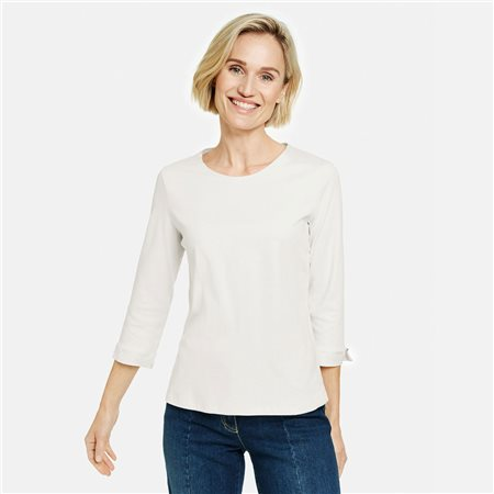 Gerry Weber 3/4 Sleeve Organic Cotton Top Cream  - Click to view a larger image