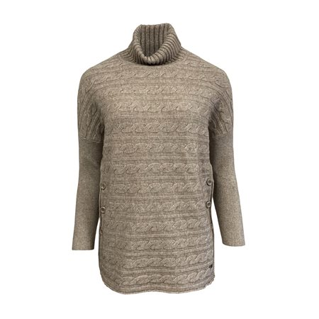 Picadilly Polo Neck Jumper With Button Side Detail Taupe  - Click to view a larger image