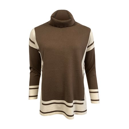 Picadilly Windowpane Cowl Neck Jumper Taupe  - Click to view a larger image