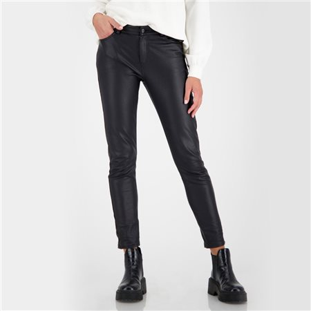 Monari Leather Look Trousers Black  - Click to view a larger image