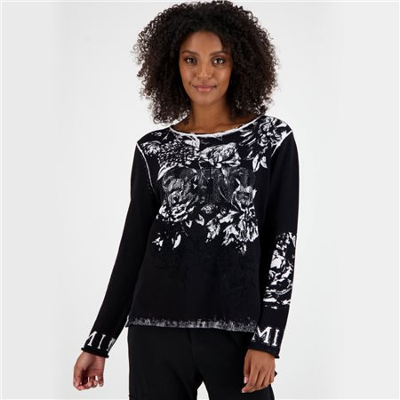 Monari Round Neck Floral Jumper Black  - Click to view a larger image