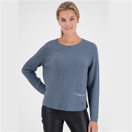 Monari Round Neck Jumper With Rhinestone Trim Blue  - Click to view a larger image